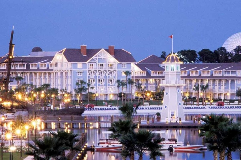 Photo of the Yacht & Beach Resorts at Disney World with Epcot in the background.