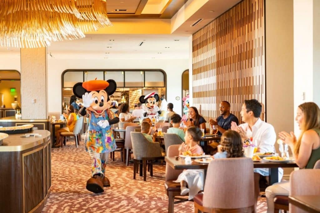 Photo of Mickey Mouse at Topolino Terrace Character Meal at Disney World.