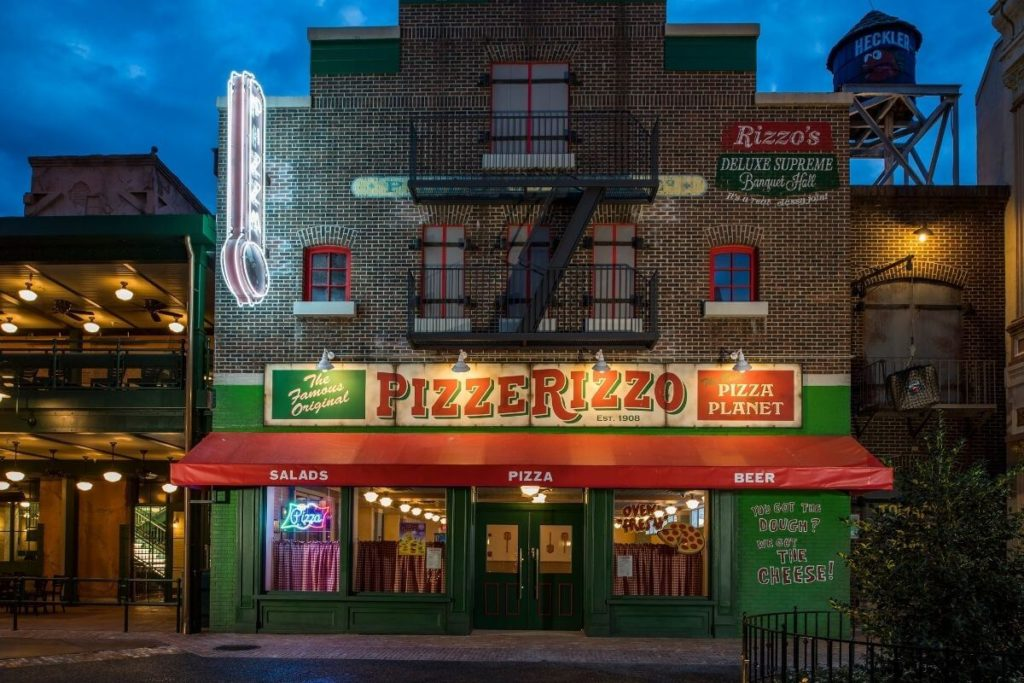Landscape photo of Pizzerizzo restaurant at Hollywood Studios.