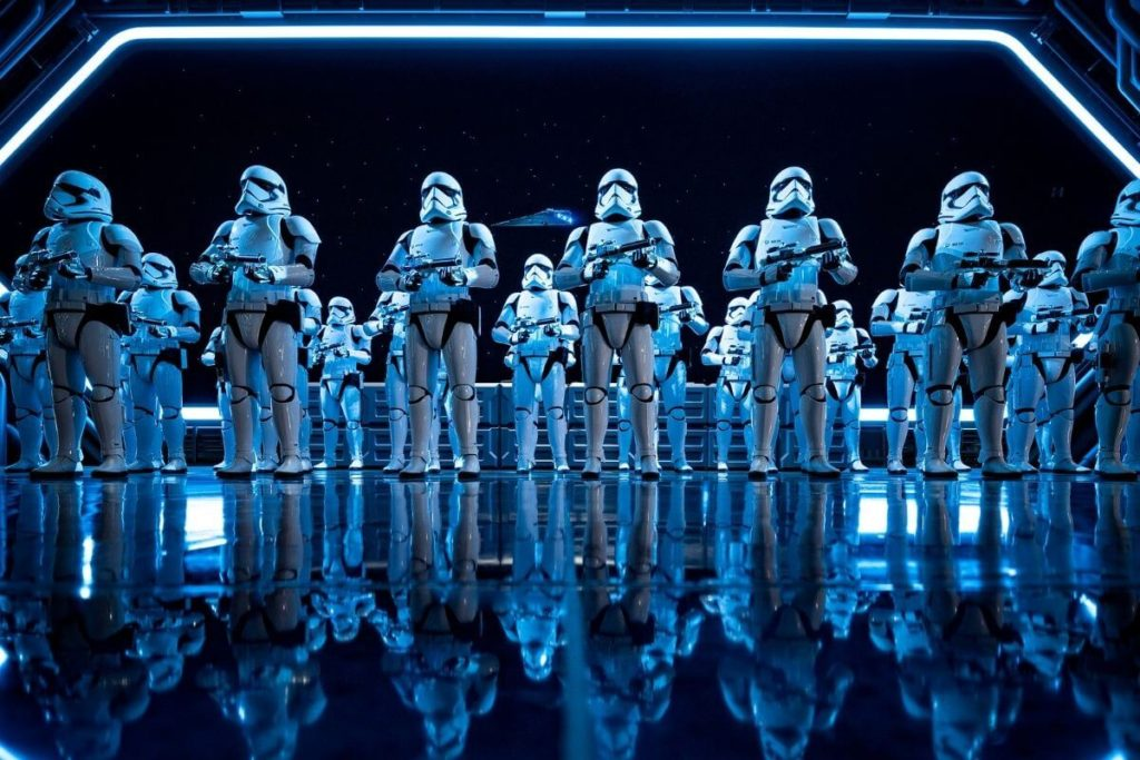Closeup of stormtroopers in Star Wars: Rise of the Resistance ride at Hollywood Studios.