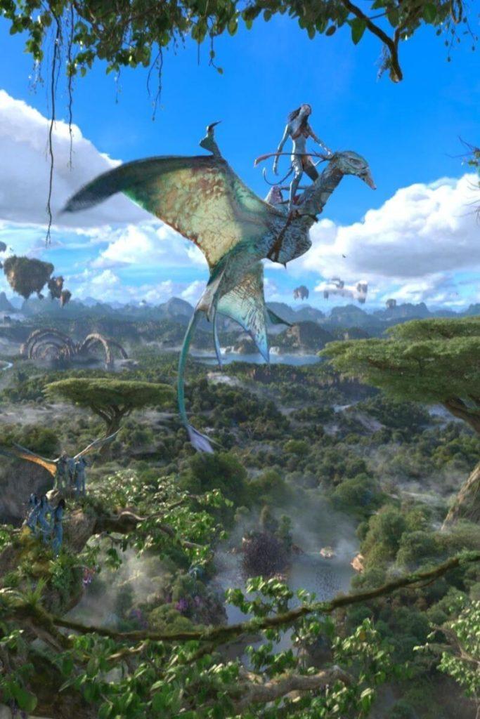 Closeup of a scene from Avatar Flight of Passage immersive ride at Disney World's Animal Kingdom.
