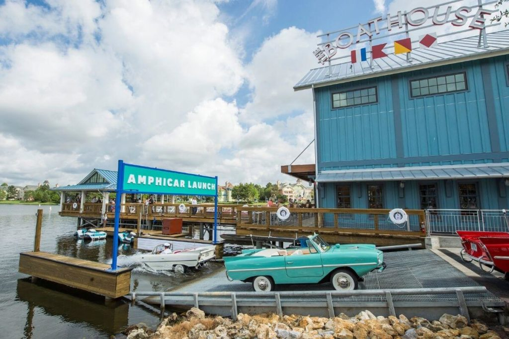 Landscape view of the Boathouse Restaurant at Disney Springs near the Amphicar launching dock.