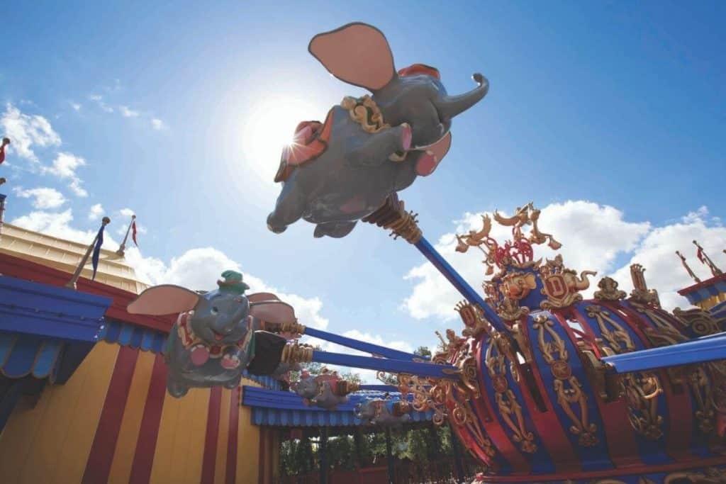 Closeup photo of the flying Dumbo kiddie ride at Disney World's Magic Kingdom.