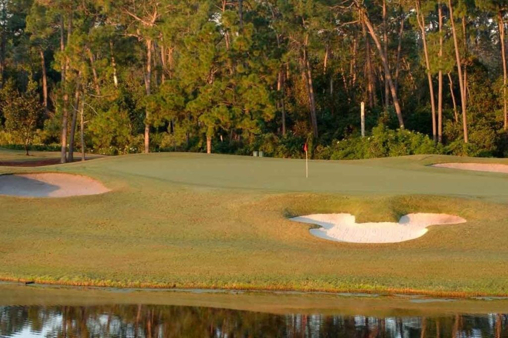 Photo of a golf course with a Mickey Mouse shaped sand pit.