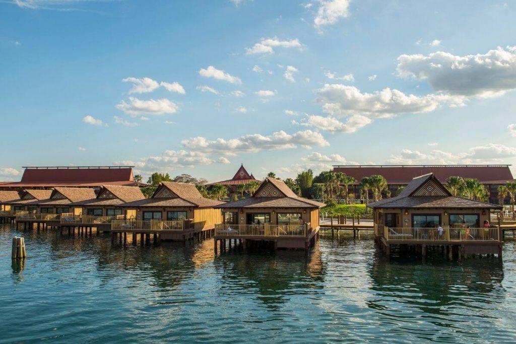 Landscape photo of a row of bungalow-style villas at Disney World's Polynesian Village Resort