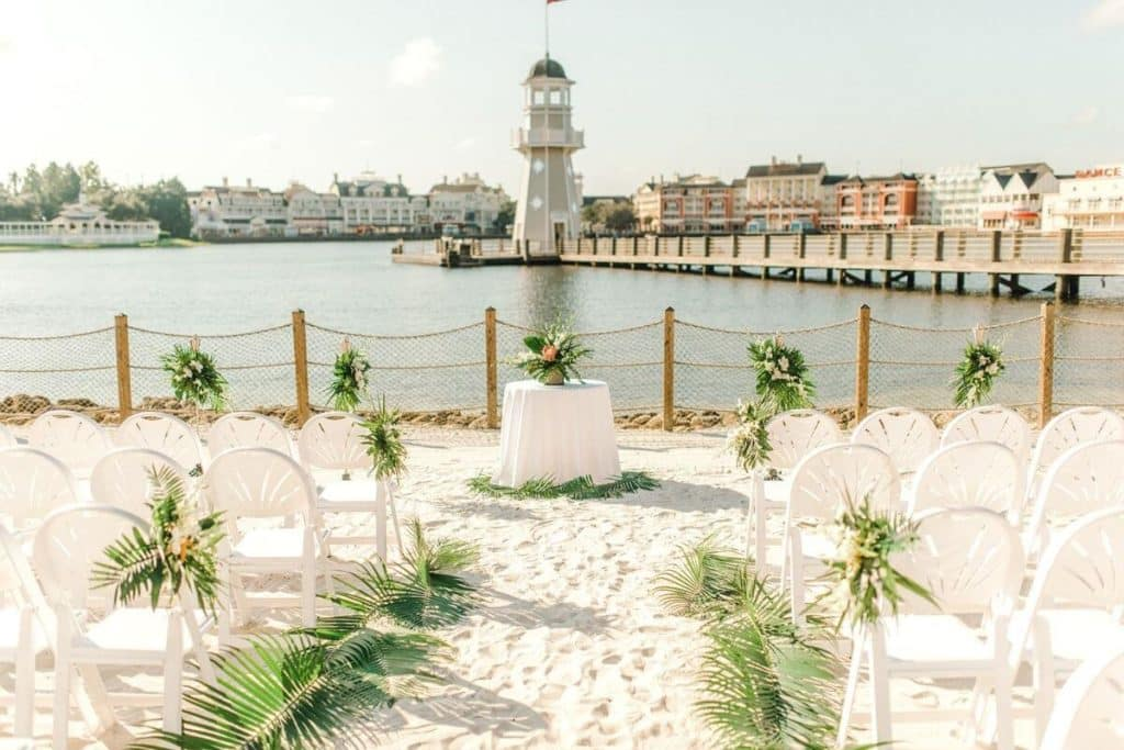 Photo of wedding seating set up at Crescent Cove at Disney World's Yacht & Beach Club Resort, overlooking the water.