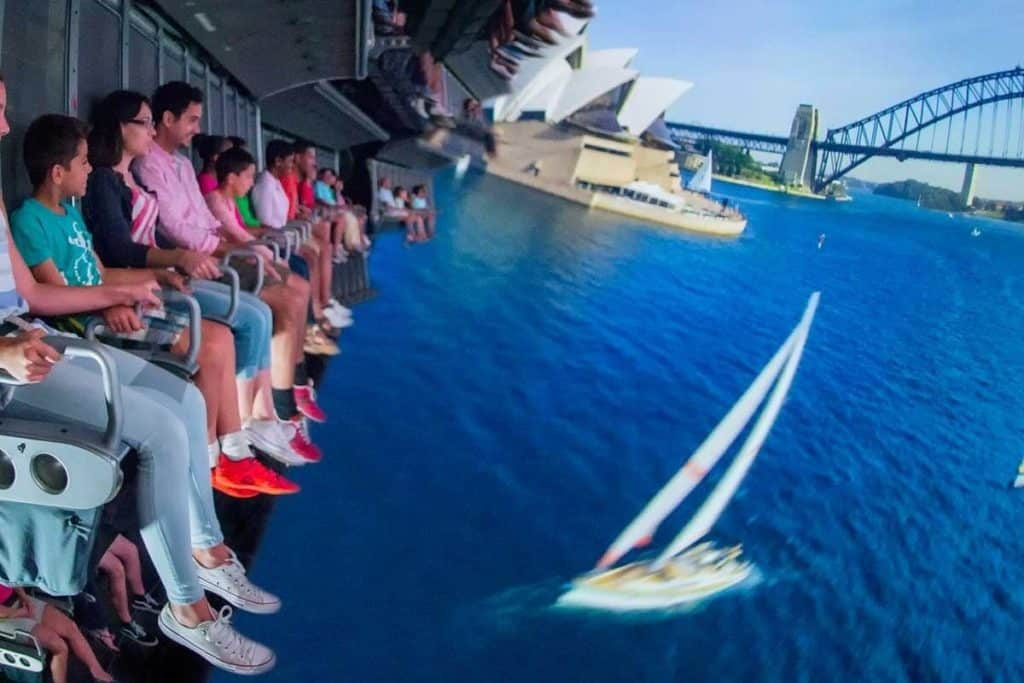Photo of guests riding Soarin' at Disney World's Epcot theme park.