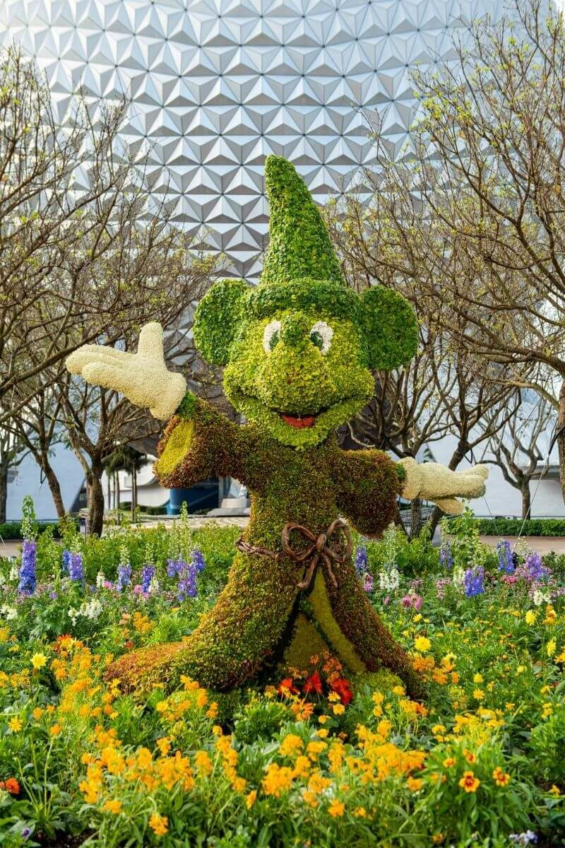 Closeup of a Mickey Mouse topiary at Disney World's Epcot.