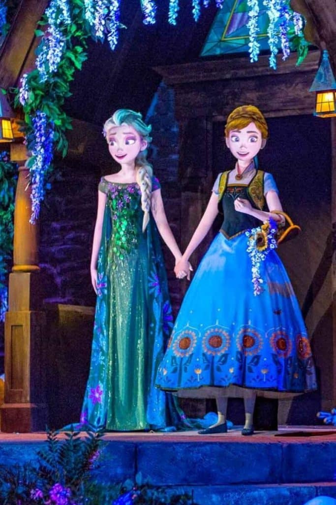 Closeup of a scene from the Frozen Ever After ride, featuring Queen Elsa and Princess Anna, at Disney World's Epcot theme park.