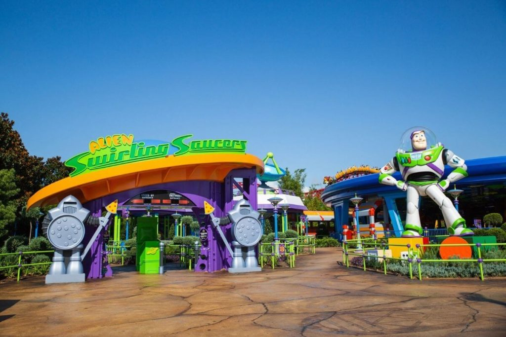 Photo of the entrance to the Alien Swirling Saucers at Hollywood Studios Toy Story Land.