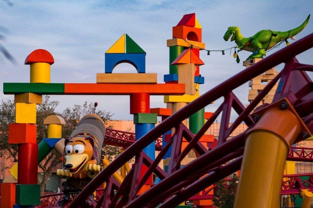 Closeup of the Slinky Dog Dash roller coaster at Hollywood Studios' Toy Story Land.