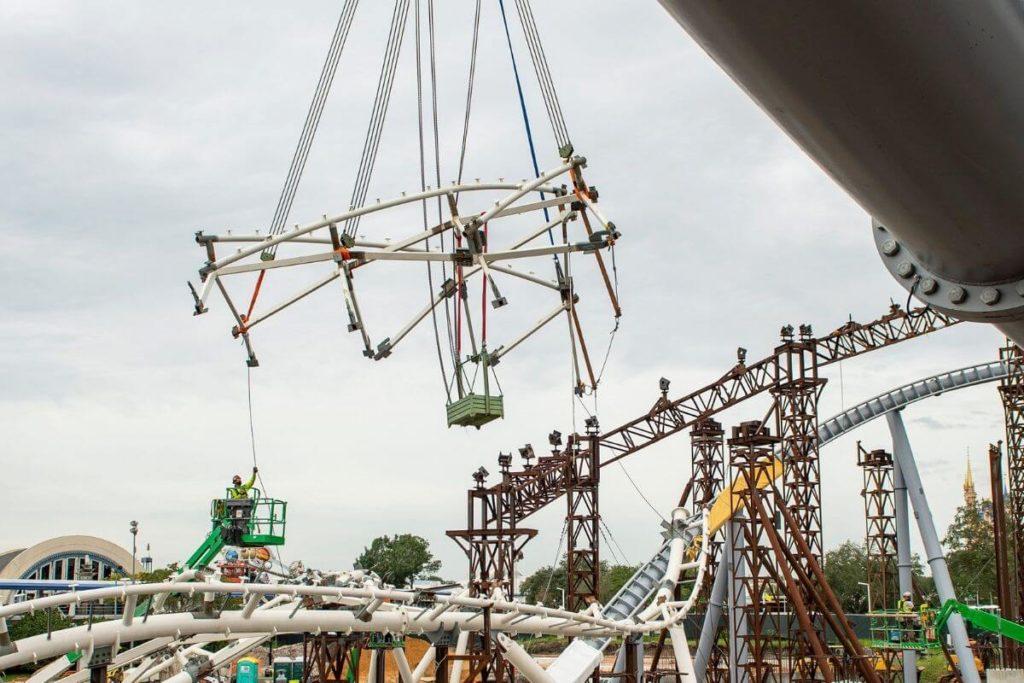 Closeup of the TRON Lightcycle Run roller coaster mid-construction at Magic Kingdom.