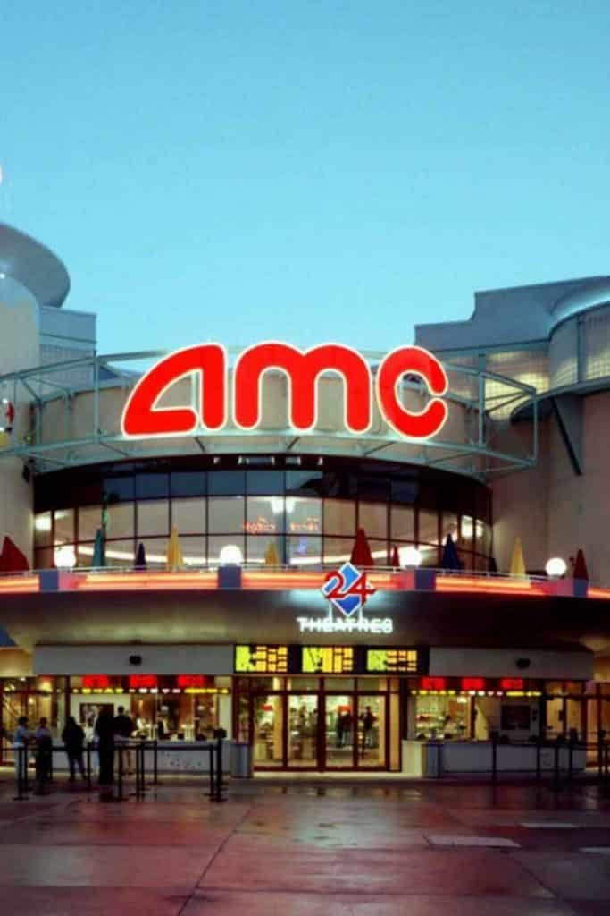 Photo of the AMC movie theater at Disney Springs on a rainy day at Disney World.