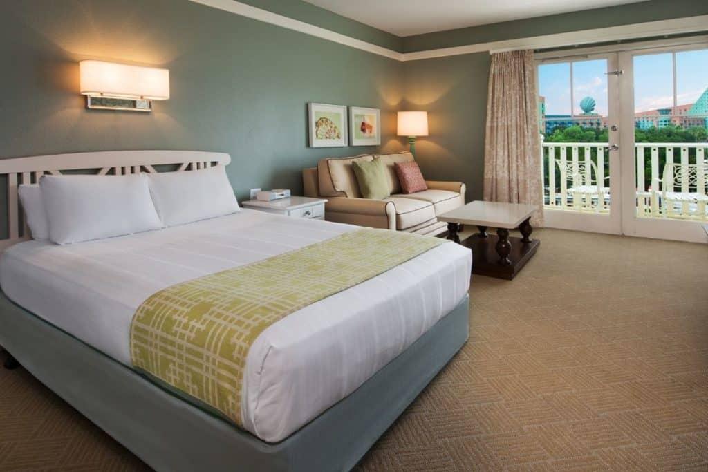 Photo of a room at Disney World's Boardwalk hotel.