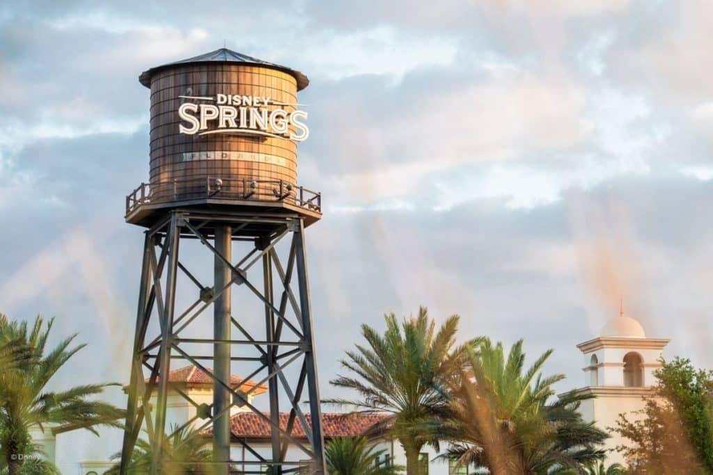 Closeup of the water tower at Disney Springs at Disney World.