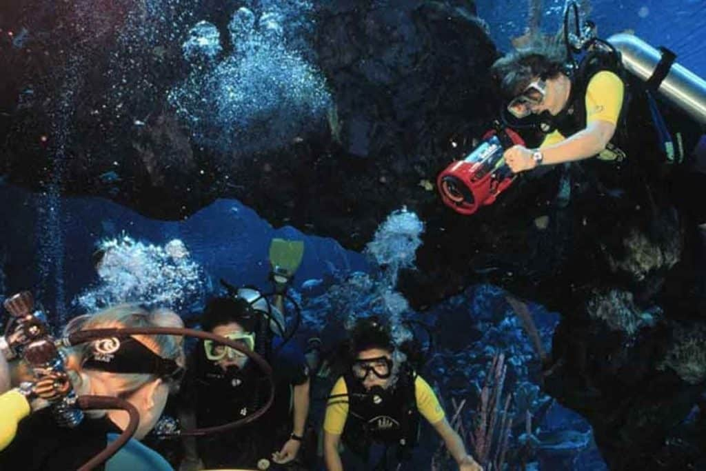 Photo of 4 people scuba diving at the aquarium in Epcot Sea Base.