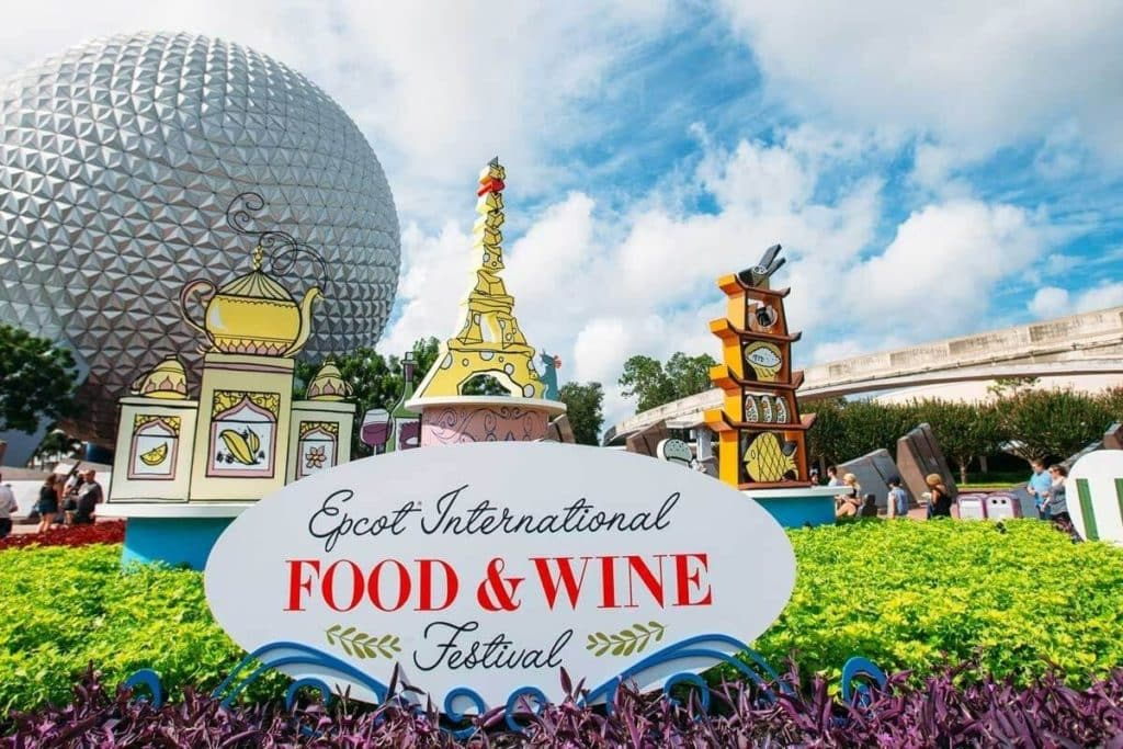 Photo of the Epcot Food and Wine Festival signage outside the Epcot entrance.