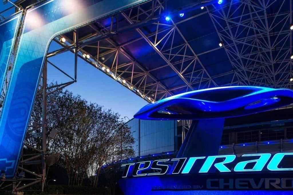 Closeup to the entrance for the Test Track ride at Epcot.