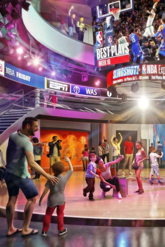 Simulated photo of people at the NBA Experience at Disney Springs at Disney World.