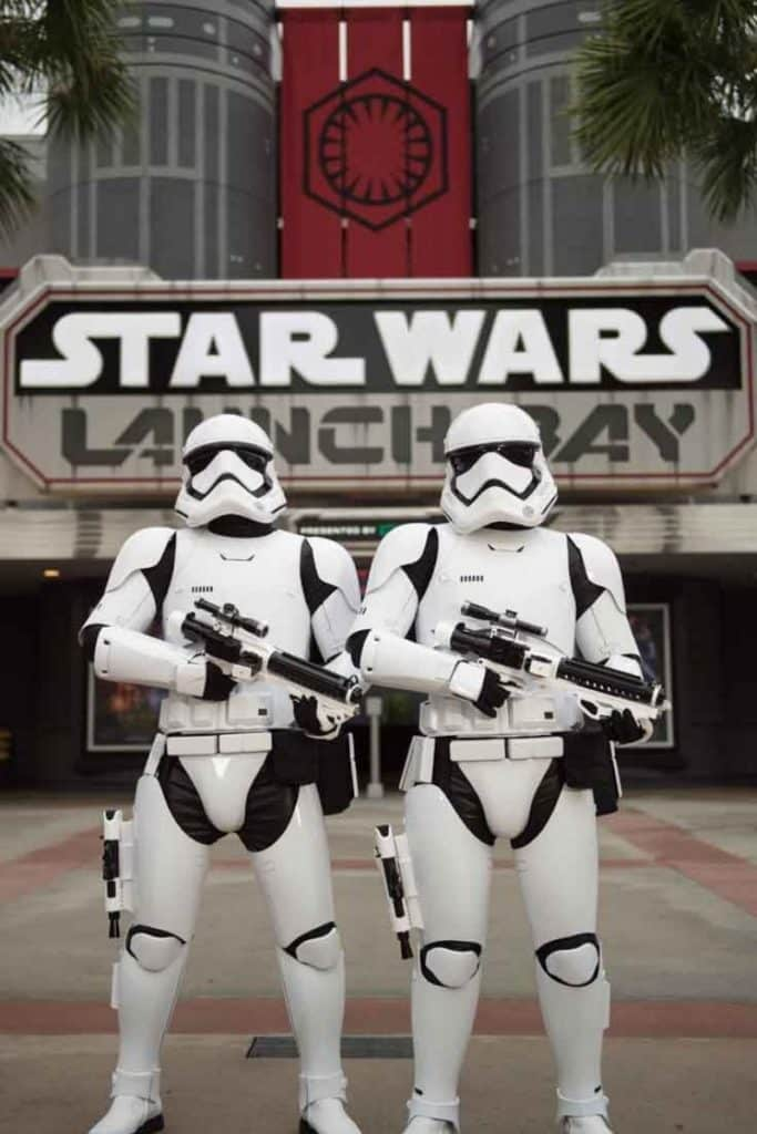 Photo of 2 Star Wars Stormtroopers standing outside Star Wars Launch Bay at Disney World's Hollywood Studios.