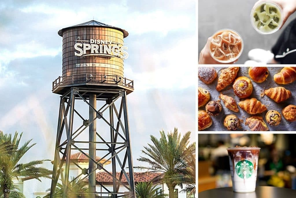 Photo collage with a closeup of the Disney Springs water tower on the left and 3 horizontal photos vertically stacked on the right: top-down photo of iced drinks, top-down photo of pastries, and closeup of an iced caramel macchiato from Starbucks.