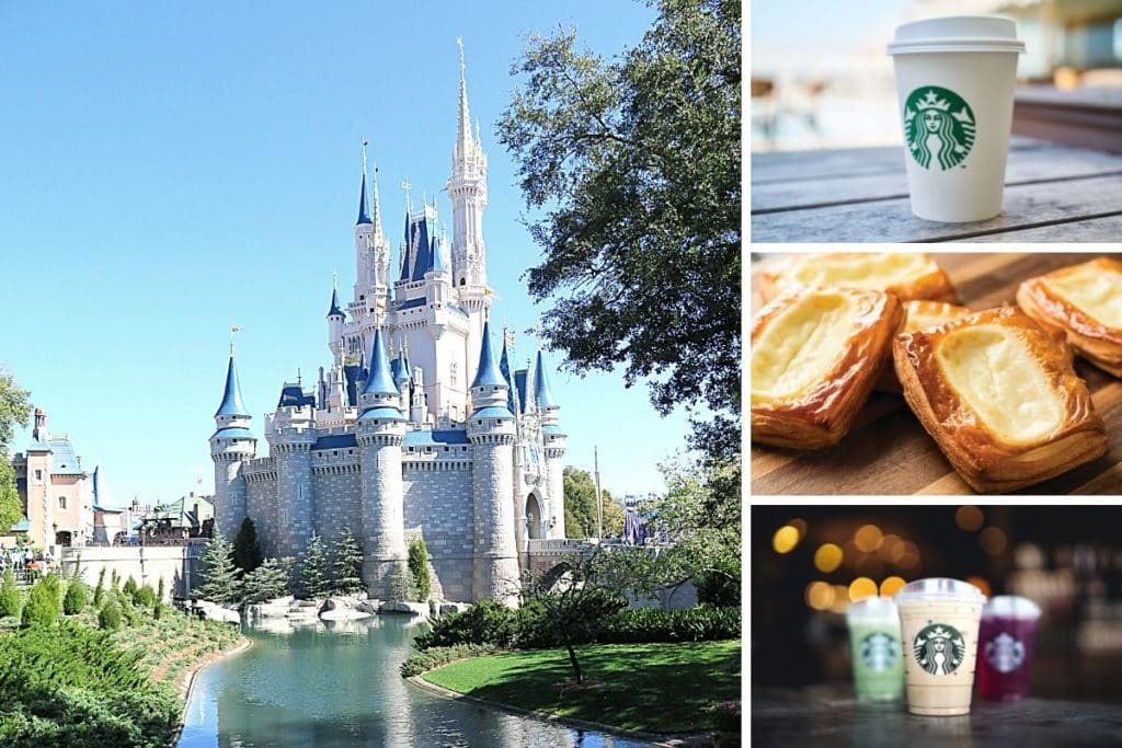 Photo collage with a photo of the side of Cinderella's Castle at Magic Kingdom. On the right, vertically stacked are 3 horizontal photos: a closeup of a hot Starbucks cup, closeup of a cheese danish, and closeup of an assortment of iced Starbucks drinks.