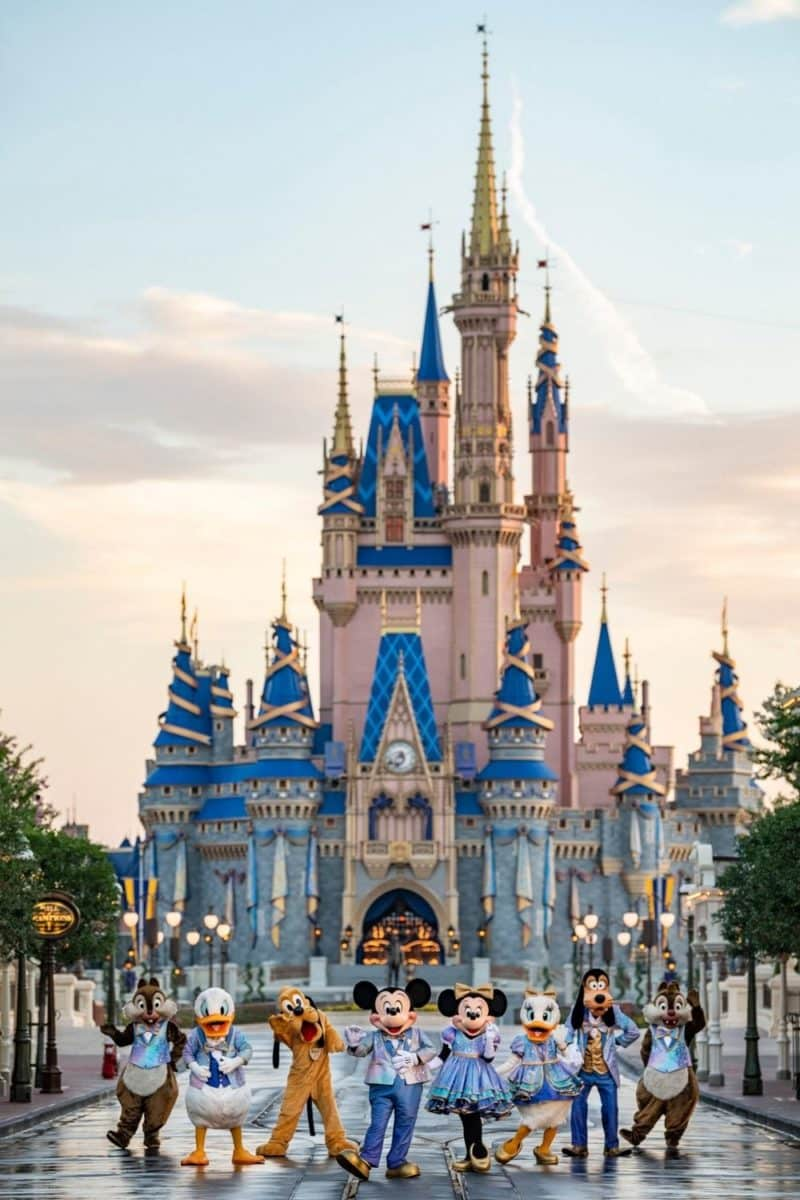 Photo of Cinderella's Castle with characters posing in front: Chip, Donald, Pluto, Mickey, Minnie, Daisy, Goofy, and Dale.