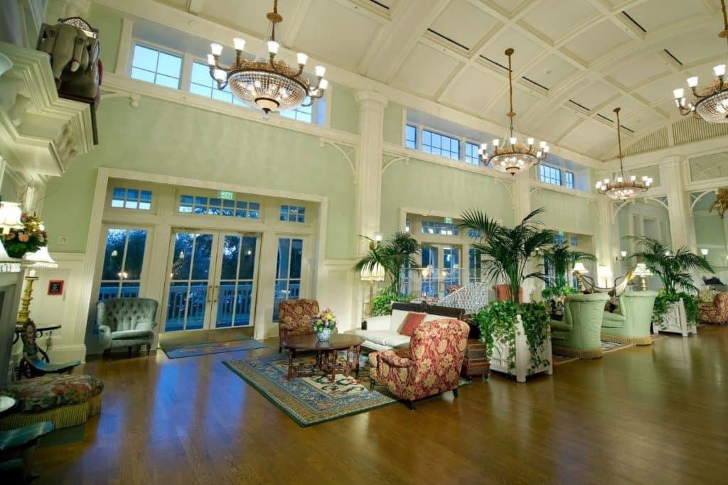Photo of the lobby at Disney World's Boardwalk Inn.