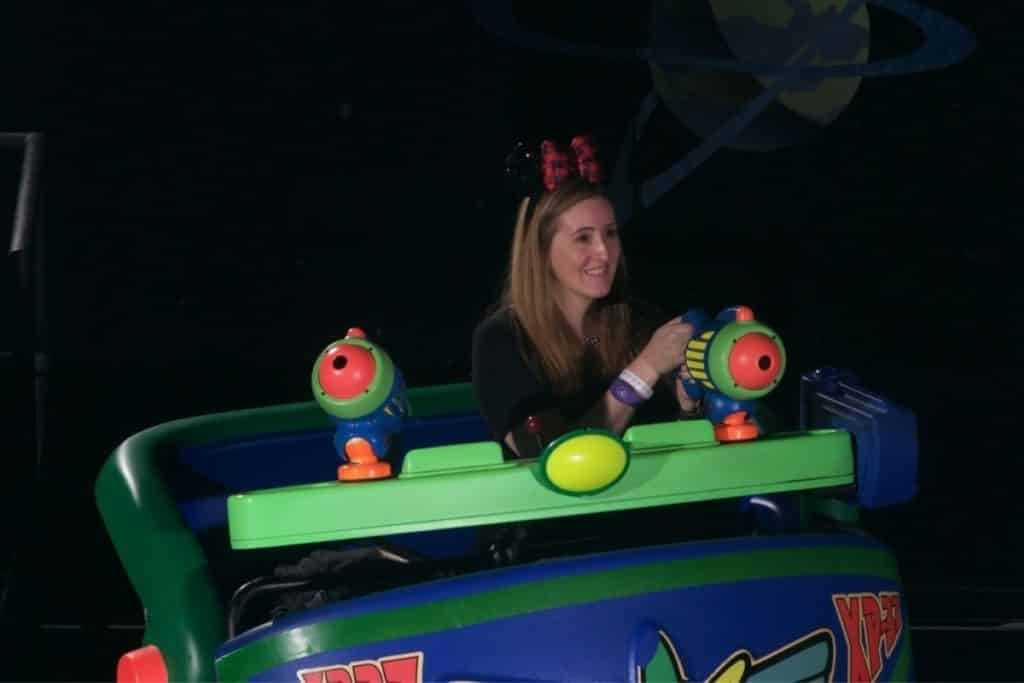 Photo of The Park Pixie riding Buzz Lightyear Space Ranger Spin at Magic Kingdom.