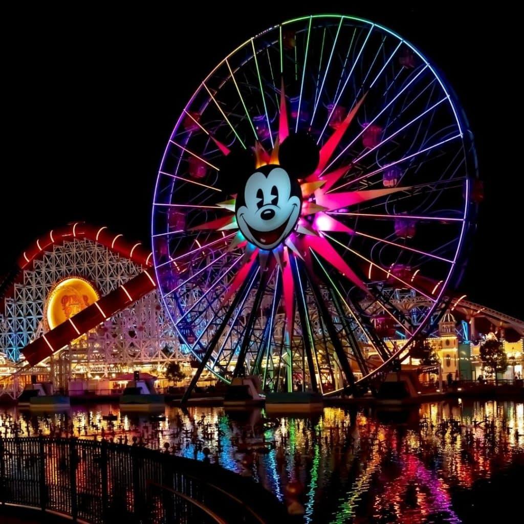 Photo of Pixar Pier at Disney California Adventure Park light up at night.