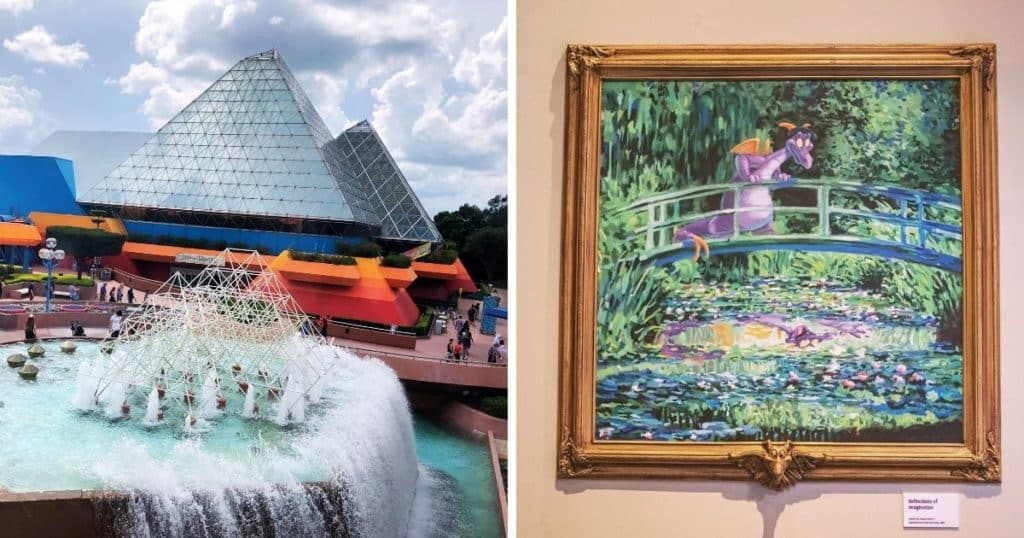 Photo collage with (L) a snapshot of the Imagination at Play! pavilion at Epcot and (R) closeup of a painting of Figment the purple dragon set amidst a Monet-like scene.