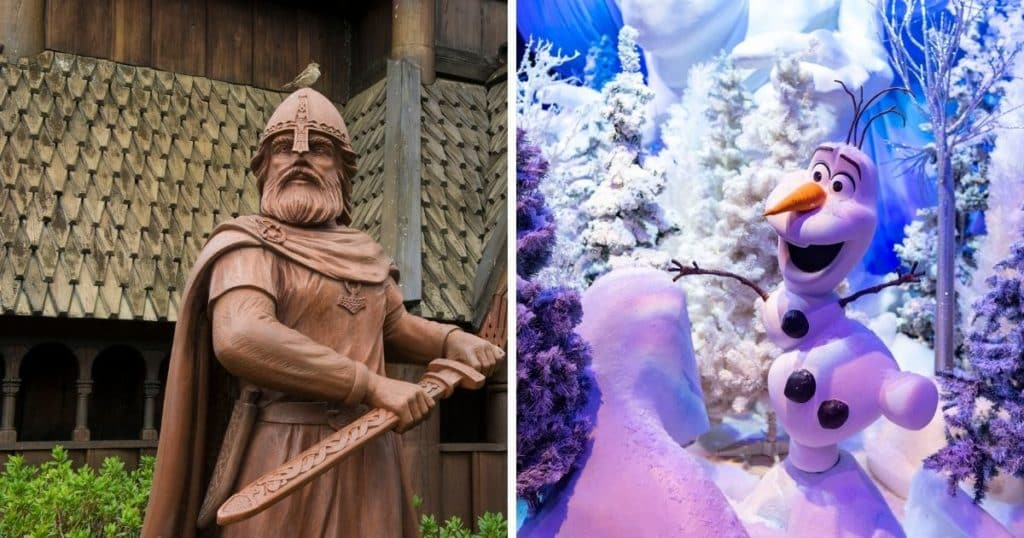 Photo collage with (R) a closeup of a statue in Epcot's Norway pavilion and (R) closeup of a ride scene featuring Olaf from Frozen.
