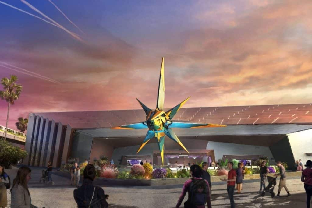 Illustration of the proposed outside treatment for the Guardians of the Galaxy roller coaster at Epcot.