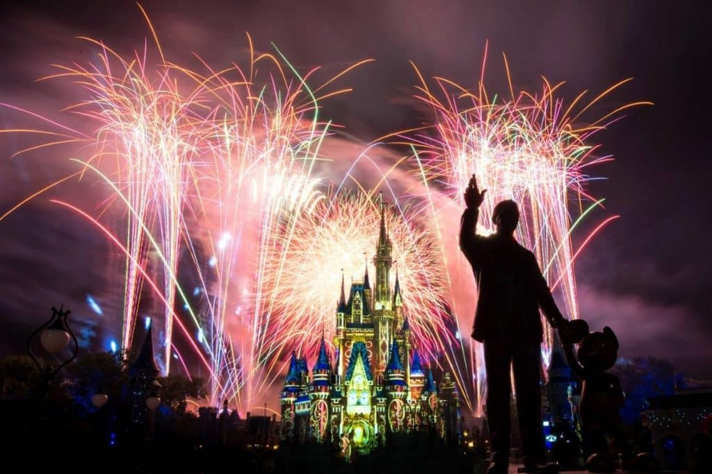 Photo of fireworks exploding behind Cinderella's Castle at Disney World's Magic Kingdom with the silhouette of Walt Disney and Mickey Mouse in the foreground.