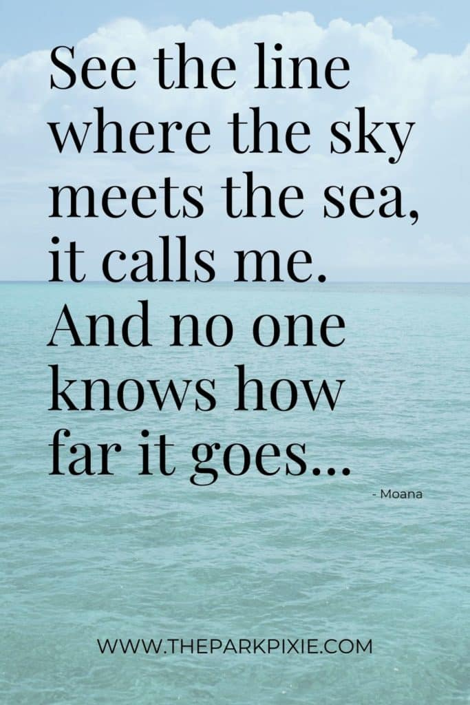 Photo of the ocean with blue skies. Text on top reads: See the line where the sky meets the sea, it calls me. And no one knows how far it goes...