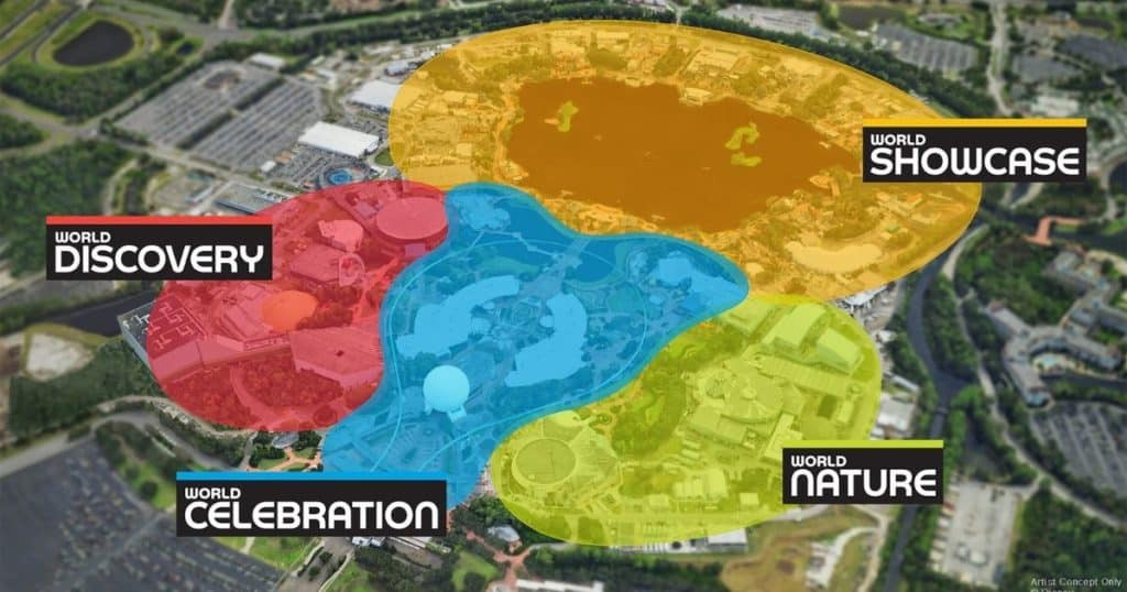 Illustration of the Epcot theme park map with highlighting showing where the new Epcot Worlds will be and their names: World Showcase, World Nature, World Celebration, and World Discovery.