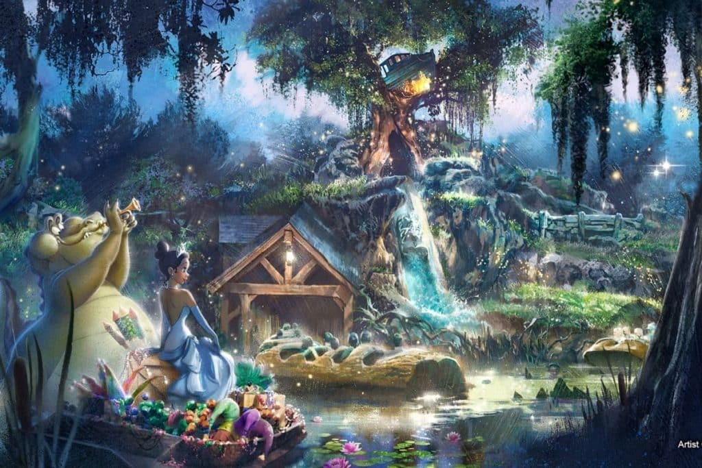 Artist Rendering of the Splash Mountain makeover featuring characters from Princess & the Frog, such as Princess Tiana.