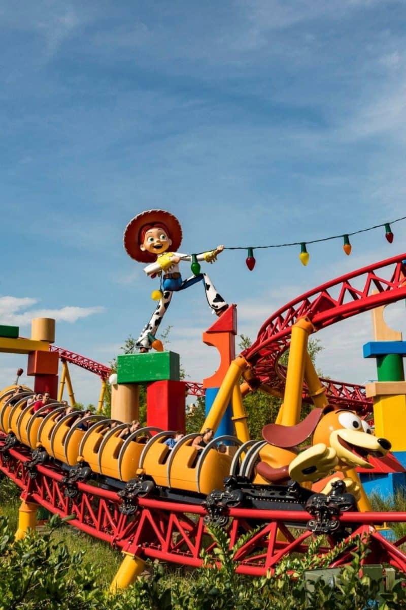 Closeup of Slinky Dog Dash roller coaster at Hollywood Studios.