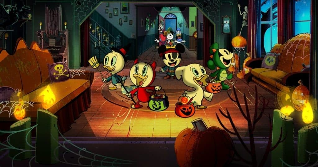 Animated still from the Mickey Mouse short film, The Scariest Story Ever: A Mickey Mouse Halloween Spooktacular.