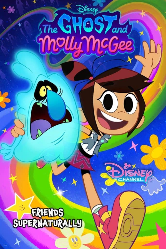 Cartoon promotional poster for the Disney show, The Ghost and Molly McGee.